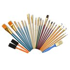 Artina® 25er Künstler Pinsel-Set Malen div. Borstenpinsel Haarpinsel Schwammpinsel Flach- & Rundpinsel für Acryl & mehr