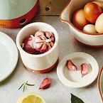 Jamie Oliver Knoblauchtopf - Terrakotta - Weiss - toller Designartikel für eine schöne Aufbewahrung von nicht nur Knoblauch - Küche Grillen Geschirr Zubehör Vintage Garlic Gewürze Gefäß