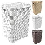 Wäschekorb in Rattan Optik 60 Liter -atmungsaktiv- mit offen gestalteter Struktur in 4 verschiedenen Farben (Weiß)