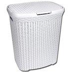 Wäschekorb - Wäschetruhe - Wäschekiste Rattan aus Kunststoff weiß