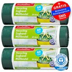 """Öko Müllbeutel - 60 Liter (60 Stück) - Extrem Reißfest & Flüssigkeitsdicht - 3er Pack (3x20 Stück) - """"Blauer Engel"""" Zertifikat"""