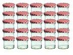 25er Set Sturzglas 125 ml Marmeladenglas Einmachglas Einweckglas To 66 rot karrierter Deckel