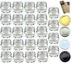 """48 leere Einmachgläser """"Mini"""" 30 ml incl. Drehverschluss Weiß von gouveo, Vorratsgläser, Marmeladengläser, Gewürzgläser, Einweckgläser (48, Deckel Weiß)"""