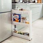 SoBuy® Nischenregal, Nischenschrank, Nischenwagen, Küchenschrank, Küchenregal, Ordnungswagen FRG40-W (weiß)