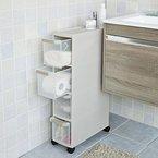 SoBuy® Rollwagen mit vier Schüben, Nischenwagen, Schubladencontainer, Küchenregal, FRG41-HG