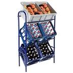 Kastenständer / Kistenregal - für 3, 6 oder 9 Kisten - in blau oder weiß Flaschenkastenregal Getränkekistenregal (6 Kisten (73x30x116cm), Blau)