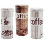 COM-FOUR® 3x Kaffeepaddosen, Dekodose, Aufbewahrungsbehälter für Kaffeepads im Vintage Look in verschiedenen Farben (3 Stück - Set Vintage)