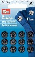 PRYM 11mm Aufnäher Druckknöpfe, 12Stück, Messing schwarz