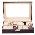 TRESKO® Uhrenbox für 12 Uhren Uhrenkasten Uhrenschatulle Uhrenkoffer Uhrenaufbewahrung aus Kunstleder, schwarz