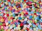 Knöpfe für Kinder RUND, Punkte,Karo und UNI Farben Knopf Kinderknöpfe Bunt Mix Scrapbooking Mischung 11-15 mm zu 100 Stück (Farbauswahl ist leider nicht möglich)