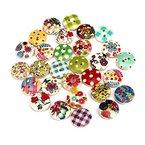 Ularmo 100 Stück 2 Löcher gemischte mehrfarbige Muster Kinder drucken Knopf 15mm