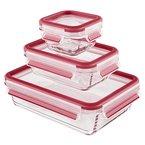Emsa 514169 3-teiliges Frischhaltedosenset mit Deckel, Glas, Volumen 0.2, 0.5 und 1.3 Liter, Transparent/Rot, Clip & Close