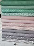 Lottashaus 12x Stoff zart Nude Rosa & Mint Türkis & Taupe Grau Stoffpaket Stoffe Patchwork Sterne Tupfen Shabby chic