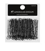 AMERICAN DREAM Pack of 100 x Haarnadeln - schwarz - gewellt - 2.5 inch / 6.35 cm Länge, 1er Pack (1 x 124 g)