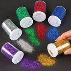 Glitter-Streuer - Glitzer aus der Dose - für Kinder zum Basteln und Dekorieren - 6 Stück im Set