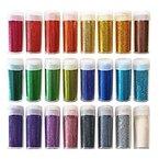 24 Set *Extrafeiner Glitter für Kunst & Handwerk* Streudosen für Sammelalben, Gesichts-/Nagel-/Augendekoration, Schulprojekte [Maximaler Glanz & Glitzer] Sortiertes Farbenset für Kinder & Erwachsene