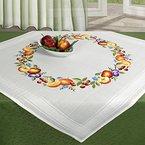 """Zauberhafte Stickpackung """" HERBSTLICHES OBST """" mit süßsem Obst - Äpfel - Pflumen - Kirschen - Orangen - Stickdecke 80 cm x 80 cm - Knötchenstich - Stielstich - Plattstich - Nadelmalerei - vorgezeichnet - Stickgarn aus 100 % Baumwolle - fertig gesäumt mit eingewebtem Zierrand - qualitativ hochwertig - zum Sofort-Loslegen - Mitteldecke 80 cm x 80 cm - zum Selbersticken - aus dem KAMACA-SHOP"""