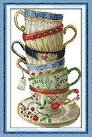 YEESAM ART Neu Kreuzstich Stickpackung - Elegant Kaffee Tasse 14 CT 28×42 cm DIY Stickerei Set Weiß Segeltuch - Kreuz Nähen Handarbeit Weihnachten Geschenke Cross Stitch Kit