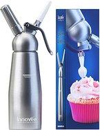 Innovee Sahnebereiter - 0.5 Liter Professional Aluminium Sahnespender mit 3 Garniertüllen + Desserts Rezepte Ebook - benötigt Standard-Sahnekapseln N20 (nicht enthalten)