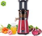 NUTRILOVERS Slow Juicer, elektrischer Entsafter für gesunden Obst und Gemüse Saft (350 W Leistung bei nur 60 U/min; 2 Einfüllöffnungen, Vor- und Rücklauf, Presschnecke, spülmaschinenfest) - rot