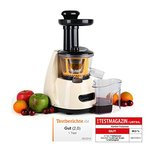 Klarstein Fruitpresso Entsafter Saftpresse Slow Juicer (150W, 70 U/min, Auffangbehälter, Gießfilter, Stopf-Stößel, Reinigungsbürste, Saugfüße) creme