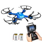 RC Quadrocopter Potensic Drohne mit 5.8GHz 6-Achsen-Gyro 2MP HD Karmera FPV Monitor Video Live Übertragung 3D Flip Funktion- Blau