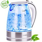 2200 Watt Glas Edelstahl Wasserkocher 1,7 Liter blaue Led Beleuchtung 360 Grad, kabellos, Kalkfilter, Bpa Frei, weiß