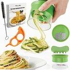 Premium Spiralschneider Hand für Gemüsespaghetti kartoffel - mit BÜNDEL Kochbuch und enthält die Bürste für die Reinigung - FabQuality Zucchini Spargelschäler, Gurkenschneider, Gurkenschäler, Möhrenreibe Möhrenschäler, Gemüsehobel
