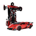 SainSmart Jr. RC Transformator Roboter-Auto, Fernbedienung Aktion Deformation Figur, Form-Schicht-Modell Auto, One-Touch-Transforming (Rot)