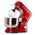 Klarstein TK1 Bella Rossa Küchenmaschine Rührgerät (1200 Watt, 5,2 Liter-Rührschüssel, 6-stufige Geschwindigkeit) rot