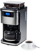MEDION MD 15486 Kaffeemaschine mit Mahlwerk und Glaskanne für aromatischeren Kaffee, Wassertank: 1,5 Liter, 8 Mahlstufen, max. 1050 Watt, silber, edelstahl