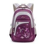 Leefrei Schulrucksack Schulranzen Schultasche Sports Rucksack Freizeitrucksack Daypacks Backpack für Mädchen Jungen & Kinder Damen Herren Jugendliche mit der Großen Kapazität (Lila-Blume)