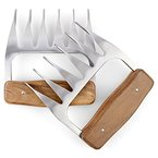 1Easylife Pulled Pork Krallen, Fleischgabel Edelstahl, Wooden Handle Fleisch-Krallen, BBQ Shredder,Grill Klauen, Meat Claws für gebratenes Fleisch wie Pute und Huhn ,Rind, Einfach Reinigung,1 Paar(2 Stück)