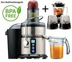 4in1 Multifunktion Edelstahl Saftpresse+Glas Standmixer+Kaffeemühle 800 Watt BPA Frei 3 Geschwindigkeitsstufen bis zu 30% mehr Saft