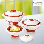 Cucinova 6-tlg Thermoschüsseln Set mit Deckel weiss/rot Thermoschüssel Isolierbehälter Warmhalteschüsseln
