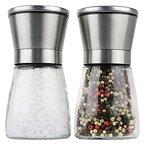 Moderne Salz und Pfeffermühle, 2- teiliges Salz und Pfeffermühlen Set, Gewürzmühle aus Edelstahl, einstellbares Keramikmahlwerk für Gewürze, Salz und Chilli, Manuelle Kräutermühle, Salzmühle für Meersalz