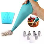 EQLEF® Silikon-Icing Piping Creme-Gebäck-Beutel und 6 x Edelstahldüse Set DIY Kuchen DIY Werkzeug verziert