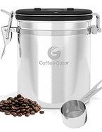 KAFFEEDOSE / KAFFEEBEHÄLTER aus Edelstahl mit Deckel und Aromaverschluss - die Vorratsdose um Kaffeebohnen u.v.m. perfekt aufzubewahren - Luftdichte Aromadose mit Dosierlöffel gratis dazu - silber
