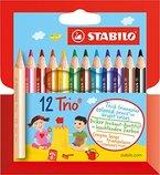 STABILO Trio dick 12er Kartonetui kurz - Dreikant-Buntstift