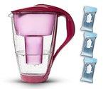 PearlCo Glas-Wasserfilter (rot) Starter-Paket inkl. 3 classic Filterkartuschen (kompatibel mit Brita Classic)