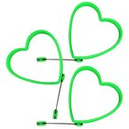 COM-FOUR® 3er Set Silikon Bratform für Spiegelei oder Pfannkuchen (3 Stück - Herz - Grün)