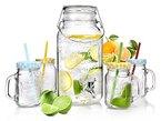 Bluespoon Vintage Getränkespender mit Zapfhahn inklusive 4 Trinkgläser mit Henkel, Deckel und Strohhalm in verschiedenen Farben | Getränkespender mit 3,7 Liter effektivem Füllinhalt und Gummiring zum Abdichten | Das perfekte Retro Set für Ihre Gartenparty