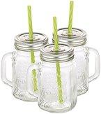 PEARL Retro-Trinkglas mit Henkel, Deckel und Trinkhalm, 3er-Set