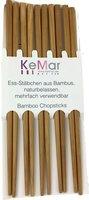 KeMar Bambus Ess-Stäbchen, Essstäbchen, Chopsticks, naturbelassen, nicht lackiert, mehrfach verwendbar, Set 5 Paar (10 Stück), länge 22,5 cm
