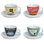 Espressotassen Set Bunt Aus Porzellan 4 Tassen Inkl Unterteller In Weiß Modern Retro Design