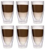 AKTION: 6x 370ml XXL doppelwandige Cocktailgläser / Longdrinkgläser / Eistee-Gläser / Saft- und Wassergläser -...