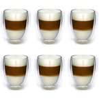 6x 300ml Doppelwandige Latte Machiatto Gläser 6er Set Thermo-Gläser - Kaffeeglas / Teeglas