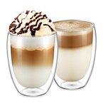 Ecooe 2-teiliges 350ml Doppelwandige Latte Macchiato Glaser Set Thermoglas Kaffeeglas Teeglas