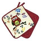 """Originelle Küchen-Serie """" Vergnügte Eulen """" - zur Auswahl : Topflappen oder Backhandschuhe , wunderschönes farbenfrohes Eulen - Motiv - hochwertig , mit Baumwolle , eine schöne kleine Geschenk - Idee - ein MUSS für alle Eulen-Fans - NEU aus dem KAMACA-SHOP (2 x Topflappen ( = 1 Paar))"""