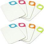 COM-FOUR® 8 Frühstücks-Schneidebretter aus Kunststoff in verschiedenen Farben (8 Stück)